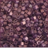 Square Beads 3.4x3.4mm Round Hole Purple Luster